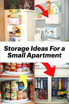 Storage Ideas For A Small Apartment Kitchen With NO Storage Space - Storage Solutions For Small Spaces - small apartment kitchen storage ideas, small bathroom storage solutions and storage ideas for small bedrooms - great DIY ideas and hacks for all small spaces.  Stop feeling overwhelmed when getting organized at home - these storage solutions for small spaces are borderline genius and USEFUL life hacks for creating more storage space in a small home or small apartment