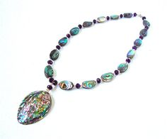 Abalone shell necklace  abalone shell by sparklecityjewelry