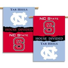 NCAA N. Carolina - Nc State 2-Sided 28-by-40 inch House Banner with  Pole Sleeve- Rivalry House Divided by BSI. $19.99. Show everyone that your house is divided by die-hard fans of these two rivals by hanging up this two-sided Collegiate premium 2-sided banner. This 28 by 40 inch banner is made of durable, heavy-duty 150-denier polyester and has a 3 inch pole sleeve so it is easy to hang. The officially licensed banner is brightly decorated in the team colors and ...