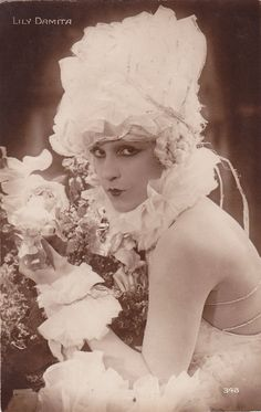 Silent Screen Actress Lily Damita in Ruffled White Costume, 1920s postcard