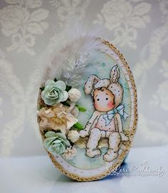 Gorgeous Easter card with Tilda in a bunny suit