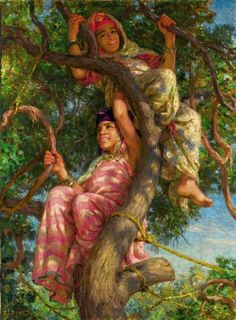 Algérie - Peintre  Français, Alphonse Étienne Dinet(1861-1929), huile sur toile  ,Intitulée: Deux filles sur l'arbre
