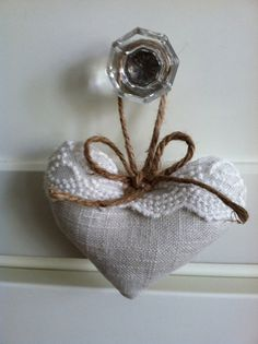 CharmingCharly http://www.etsy.com/listing/112436732/charming-linen-and-lace-hanging-heart