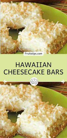 Hawaiian Cheesecake Bars Coconut Recipes, Baking Recipes, Cookie Recipes, Oven Recipes, Easy Desserts, Delicious Desserts, Yummy Food, Lemon Desserts, Yummy Treats