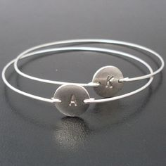 Personalized Custom Initial Bangle Bracelet by FrostedWillow, $18.00