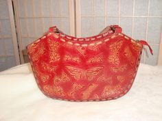 Nice Red Leather Hand Tooled Embossed Butterflies Handbag Purse India #Unbranded #Baguette