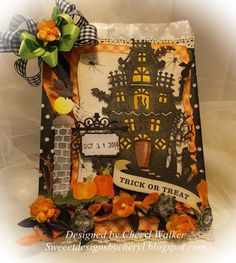 Cheryl Walker: Sweeet Designs by Cherl for CottageBLOG: Haunted House Treat Bag - 10/6/14.  (Dies: Haunted House; Spooky Ironwork Sign).  (Pin#1: Dies: CottageCutz. Pin+: Halloween: Haunted House).