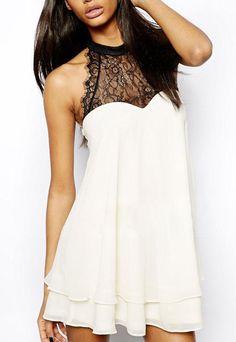 White Sleeveless Lace Bow Chiffon Dress 17.00