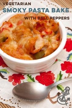 Vegetarian smoky fajita pasta bake with bell peppers