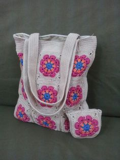 African flower crochet bag.