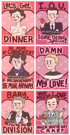 Sherlock Valentines by neverendingdickjokes feb 2013 or (same here mycroft. -Every aroace ever) Sherlock Fandom, Sherlock Bbc, Sherlock Cake, Sherlock Kiss, Watson Sherlock, Jim Moriarty, Sherlock Quotes, Johnlock, Valentines Design