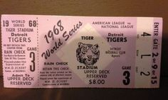 1968 World Series Detroit Tigers Game 3 Ticket Stub Detroit Tigers Game, World Series Tickets, Tiger World, Tiger Stadium, American Series, Ticket Stubs, Game 3, National League, My Memory