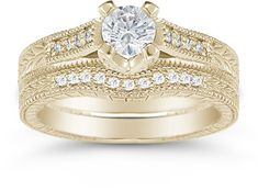 applesofgold.com - 0.93 Carat Victorian Diamond Engagement Set, 14K Yellow Gold