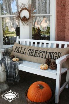 Give your patio a a warm autumn touch by adding fresh paint and a cozy fall pillow. The newly decorated bench will be a perfect spot for catching up with guests on Thanksgiving.