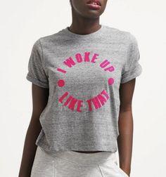 Eleven Paris SLOKE Tshirt z napisem I woke up like that grunder grey
