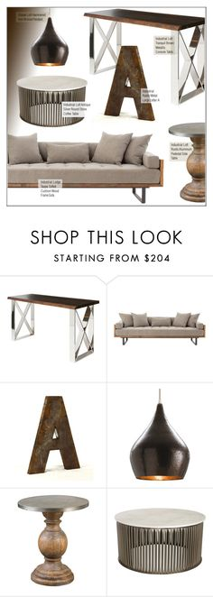 """""""Industrial Loft"""" by kathykuohome ❤ liked on Polyvore featuring interior, interiors, interior design, home, home decor, interior decorating, industrial, homedecor and industrialloft"""