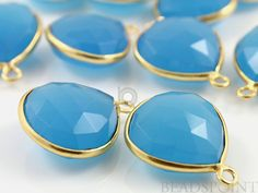 Natural Egyptian Blue Chalcedony Bezel Heart Shape by Beadspoint, $9.99