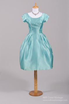 Lovely 1950 Turquoise Silk Vintage Party Dress/ Bridesmaids dress