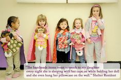 Enchanted Makeovers - handmade items such as capes, pillowcases and dolls for children and mothers in domestic abuse shelters