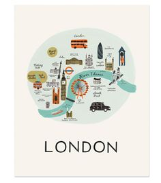 Created from an original painting by Anna Bond for Rifle Paper Co, this illustrated map of London makes a great gift. Flat packed with protective sleeve. 20 x 25 cm Also available as a birthday card! Anna Bond, Travel Maps, Travel Posters, Travel Souvenirs, London Map, London Poster, London City, London Travel, London Icons