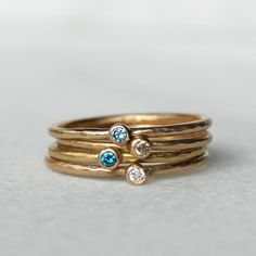 Dünn Mini Diamantring  dünne Gold Diamond Ring Stapeln