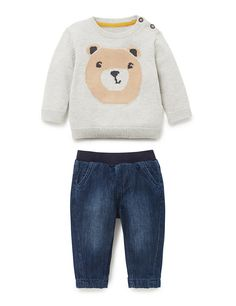 2 Piece Pure Cotton Bear Print Jumper & Jeans Outfit | M&S