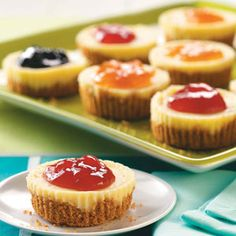 Jam-Topped Mini Cheesecakes Recipe -Presto! We turned cheesecake into irresistible finger food with these cute little treats. For fun, make them with an assortment of jams and preserves, such as strawberry, blackberry and apricot. —Taste of Home Test Kitchen