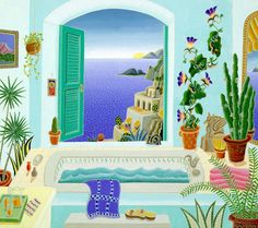 Thomas McKnight - Positano Bath - Serigraph on Paper Complete colection of art, limited editions, prints, posters and custom framing on sale now at Prints. Amalfi, Positano, Prints For Sale, Art For Sale, Thomas Mcknight, Art Thomas, Poster Prints, Art Prints, Posters
