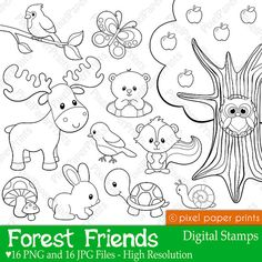 Forest Friends - Digital stamps