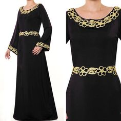 2634 Gold Sequin Floral Trim Islamic Abaya Bell by MissMode21, $35.00