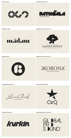Bunch of great logos here! Notice how they all work perfectly in single-color, though multi-color versions can be created to enhance them further. Also notice how many of them fit great into a square space and tend to be fairly bold. Graphic Design Branding, Identity Design, Corporate Identity, Visual Identity, Brand Identity, Web Design, Icon Design, Typography Logo, Logo Branding