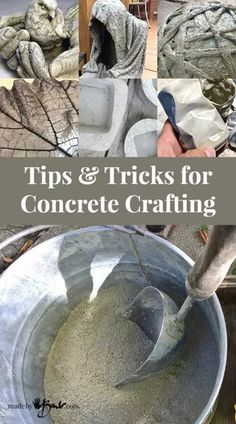 Check out how to craft and make with concrete, tips and tricks for concrete crafting and information about various concrete mixes, how to finish concrete crafts Cement Art, Concrete Cement, Concrete Garden, Concrete Leaves, Decorative Concrete, Concrete Mix Design, Concrete Furniture, Polished Concrete, Glass Garden