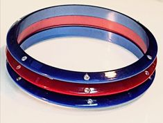 Vintage Luminous Blue and Red Moon Glow Lucite Resin Stacking Bangle Trio w Narrow Bevelled Edge & Sparkling Inset Rhinestone Crystals Red Moon, Cartier Love Bracelet, Crystal Rhinestone, Vintage Items, Resin, Glow, Sparkle, Bangles, Crystals