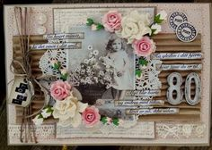 Charming heritage collage child's page with corrugated cardboard photo matting and lace, buttons and fussy cut flower embellishments. *Click on photo to enlarge.