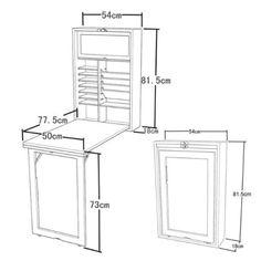 Wandschrank, Memoboard und einer Tafel auf der Rückwand, Wandklapptisch mit integriertem Regal, Küchentisch FWT08 (weiß): Amazon.de: Küche & Haushalt