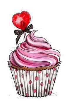 Ideas cupcakes desenho tattoo for 2019 Cupcake Illustration, Cupcakes Rosa, Pink Cupcakes, Birthday Cupcakes, Art Cupcakes, Cupcakes Amor, Valentine Cupcakes, Cupcake Kunst, Cupcake Art