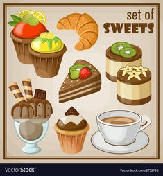 Royalty-Free Vector Images by gurza - Page 8 Sweets Art, Happy Birthday Template, Cute Food Art, Cute Food Drawings, Food Artists, Cookie Run, Little Bit, Dessert Recipes, Desserts