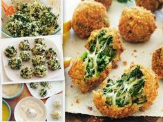 Fried Spin Dip-- Wondering if I can bake these. 1/2 cup Spinach (Frozen and Thawed, or fresh) 7oz jar artichoke hearts (drain and pat dry) 1 cup shredded mozzarella cheese 1/2 cup shredded Parmesan cheese 3 tablespoons mayonnaise 2 cloves minced garlic 1 cup bread crumbs 2 eggs, beaten 1/2 cup all-purpose flour 1 lemon, cut into slices 1 pinch coarse salt and freshly ground pepper 4 cups vegetable oil Directions In a large bowl, combine the spinach, artichoke hearts, mozzarella, Parmesan, mayonn Spinach Appetizers, Bread Appetizers, Appetizer Dips, Appetizer Recipes, Snack Recipes, Fried Spinach, Spinach Bread, Spinach Artichoke Dip, Spinach Dip