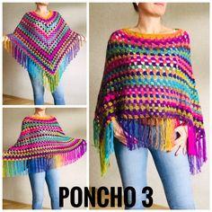 Rainbow Poncho Pride Women, Crochet outlander Triangle Shawl Wraps Fringe, Plus size Festival Vegan, Mom-Birthday-Gift-from-Daughter Poncho Au Crochet, Crochet Poncho Patterns, Crochet Shawls And Wraps, Knitted Shawls, Knit Crochet, Easy Crochet, Plus Size Festival Outfit, Poncho Mantel, Festival Poncho