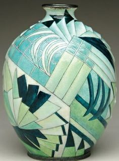 James D. Julia, Inc.~RARE and important Camille faure Limoges Art Deco vase~The sculpted vase form having colors in shades of green and white with fan shaped panels~Rectangles~Squares and leaf design Silvered rim with silvered base Ceramic Pottery, Pottery Art, Ceramic Art, Arte Art Deco, Art Deco Era, Art Nouveau, Vase Noir, Art Deco Furniture, Furniture Ads