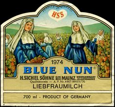 Blue Nun Liebfraumilch - Our first dabble into White wine! Blue Nun Wine, Sweet Memories, Childhood Memories, Advertising Slogans, Vintage Labels, Vintage Wine, Wine Label, New Blue, The Good Old Days