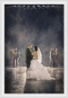 """Dance with me my loves"" - Bride and bridesmaids dance with their husbands in the rain! Disney themed magical wedding photo by Neal Urban"