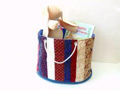 Bucket bag red white blue Patriotic fabric #tote #bucket #homedecor by NancyEllenStudios