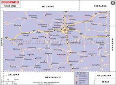 Road map of Colorado with interstate & state highways, major roads and cities. Denver, Road Maps, Fort Morgan, Central City, Colorado Usa, Nebraska, Wyoming, Roads, Places