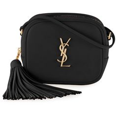Saint Laurent Monogram Blogger Crossbody Bag ($1,050) ❤ liked on Polyvore featuring bags, handbags, shoulder bags, black, yves saint laurent handbags, tassel handbag, monogrammed crossbody purse, monogrammed cross body purse and crossbody purse
