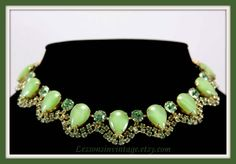 Stunning Vintage Green Moonstone and Rhinestone Choker by LessonsInVintage on Etsy