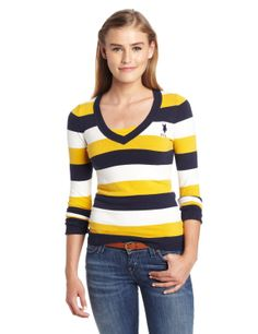 U.S. Polo Assn. Juniors Long Sleeve Striped V-Neck ($19.99) http://www.amazon.com/exec/obidos/ASIN/B00E1BEKDC/hpb2-20/ASIN/B00E1BEKDC Thank you U.S. Polo. - It is very comfortable and is a very nice fit. - This picture is a little misleading.