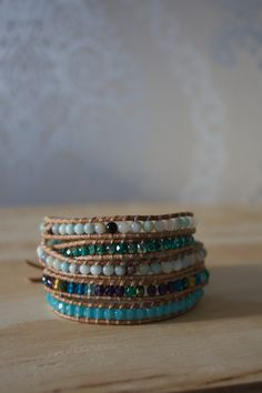 Wrap bracelet with amazonite and czechbead.
