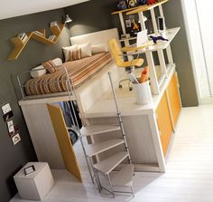 Spiral staircase, a walk-in closet, bed, storage and an office - wow!  Totally doing this when I build my own home.
