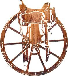 Wagon Wheel and Saddle - This is a favorite of cowboys, cowgirls, and ranchers alike. The saddle sitting on a wagon wheel is a western scene that is seen over and over again in the great west. Measures wide and has a honey pinion finish. Western Wall Decor, Metal Wall Decor, Metal Wall Art, Wood Art, Wall Art Decor, Metal Projects, Metal Crafts, Art Projects, Foto Cowgirl